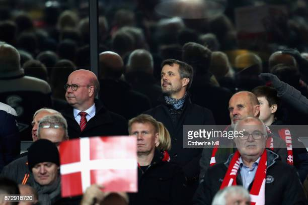 Crown Prince Frederick VI of Denmark looks on from the stands during the FIFA 2018 World Cup Qualifier PlayOff First Leg between Denmark and Republic...