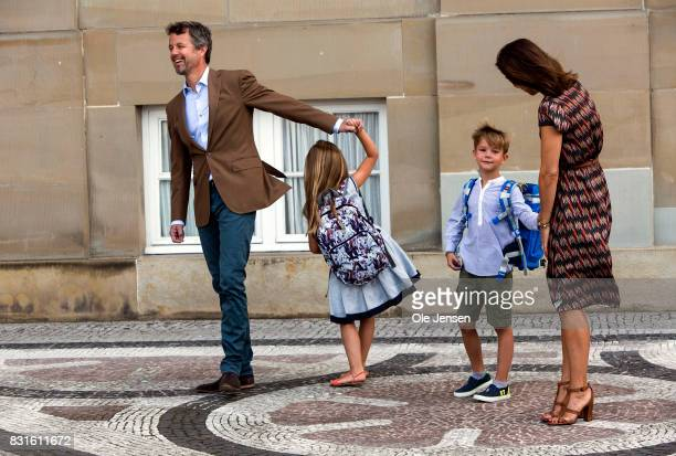 Crown Prince Frederik and Crown Princess Mary accompany their children Princess Jesephine and Prince Vincent to the first day at school on August 15...