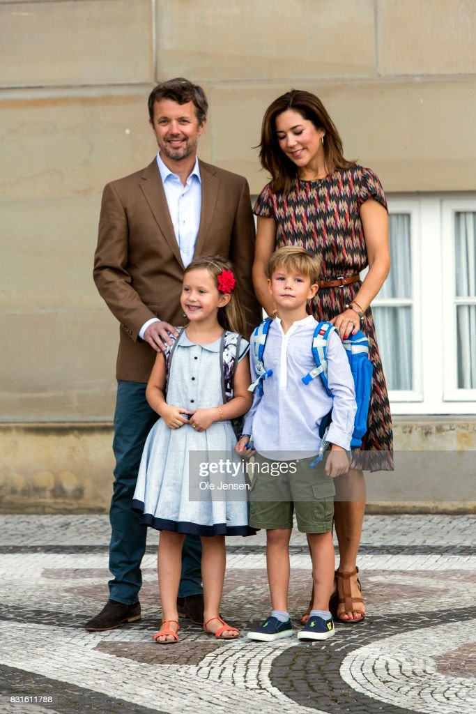 Crown Prince Frederik and Crown Princess Mary accompany their children Princess Jesephine and Prince Wincent to the first day at school on August 15, 2017 in Copenhagen, Denmark.