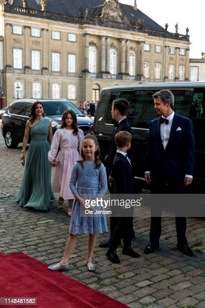 Crown Prince Frederik and Crown Princess Mary and their four children arrive at Amalienborg Royal Palace where Queen Margrethe of Denmark host a...