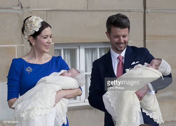 Crown Prince Frederik And Crown Princess Mary Arrive Back At Amalienborg Palace In Copenhagen After The Christening Of The Danish Royal Twins At...