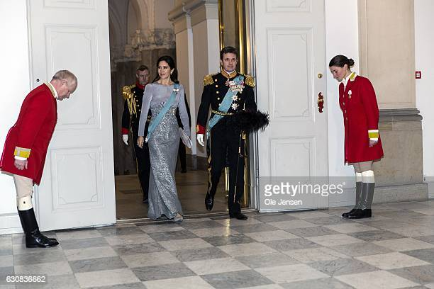 Crown Prince Frederik and Crown Princess Mary arrive to Queen Margrethe of Denmark's New Year's reception at Christiansborg the parliament building...