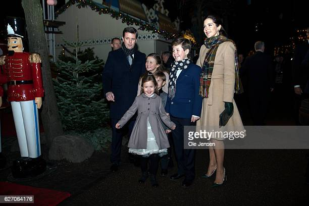 Crown Prince Frederik and Crown Princess Mary arrive with children to the premiere of the Tarkovsky 'The Nutcracker' ballet in Tivoli which has the...