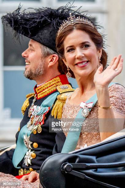 Crown Prince Frederik and Crown Princess Mary during a carriage ride to the gala banquet on the occasion of The Crown Prince's 50th birthday at...