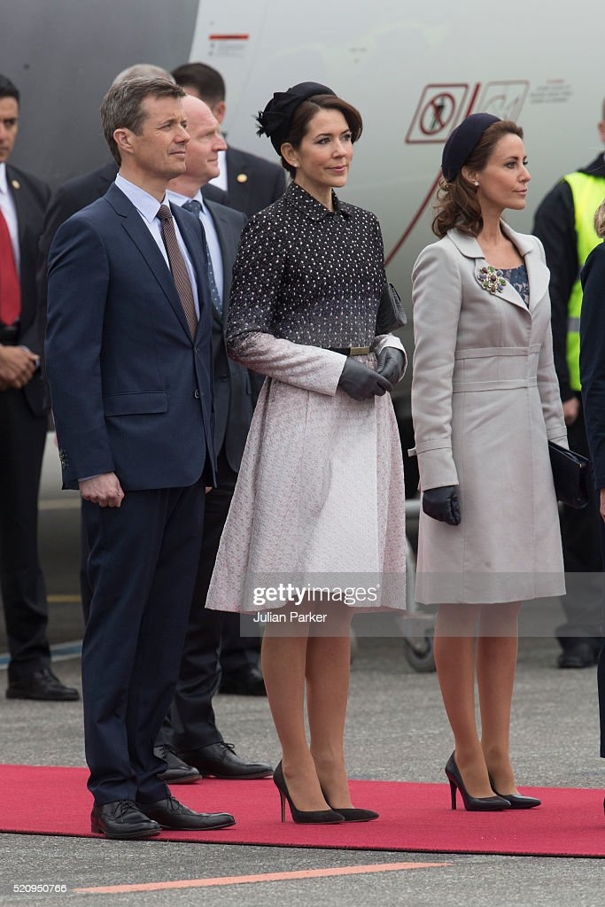 Crown Prince Frederik, and Crown Princess Mary of Denmark, and Princess Marie of Denmark, at Copenhagen Airport, for the arrival of The President, and his wife during the State visit of the President of The United Mexican States, President Enrique Pena Nieto, and his wife Angelica Rivera to Denmark on April 13, 2016 in Copenhagen, Denmark.