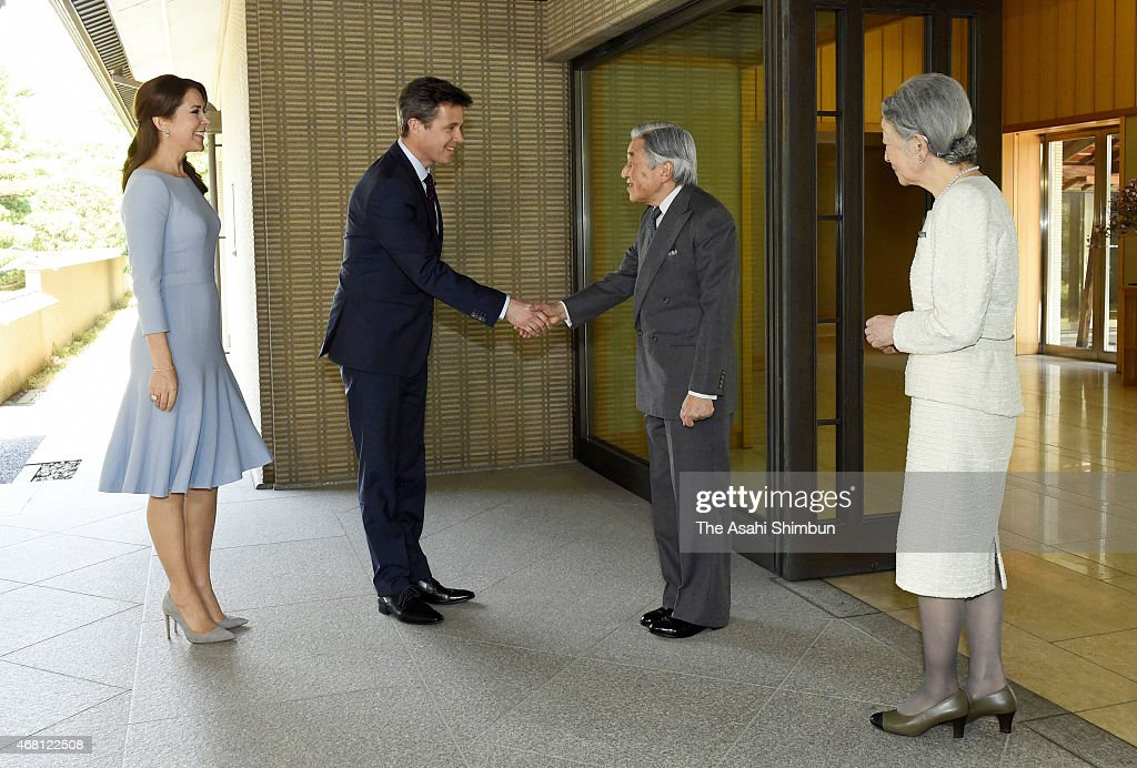 Crown Prince Frederik (2nd L) and Crown Princess Mary (1st L) of Denmark are welcomed by Emperor Akihito (2nd R) and Empress Michiko (1st R) prior to their meeting at the Imperial Palace on March 28, 2015 in Tokyo, Japan.