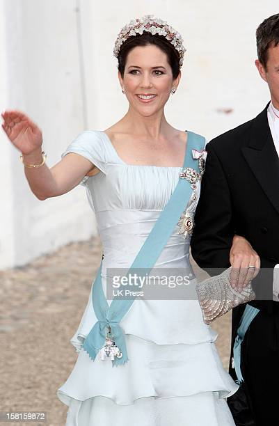 Crown Prince Frederik And Crown Princess Mary Of Denmark Arrive At The Wedding Of Prince Joachim Of Denmark And Miss Marie Cavallier At Mogeltonder...
