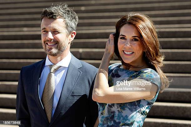 Crown Prince Frederik and Crown Princess Mary of Denmark arrive at the Opera House forecourt on October 24, 2013 in Sydney, Australia. Prince...