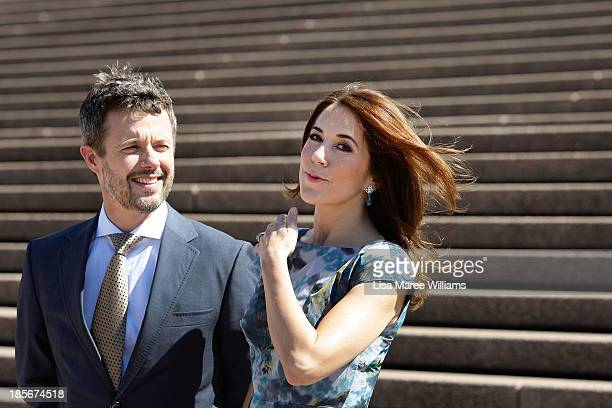Crown Prince Frederik and Crown Princess Mary of Denmark arrive at the Opera House forecourt on October 24 2013 in Sydney Australia Prince Frederik...