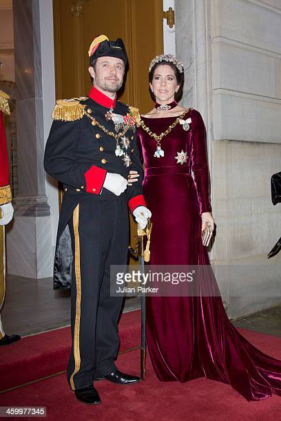 Crown Prince Frederik and Crown Princess Mary of Denmark arrive at the Traditional New Year's Banquet hosted by Queen Margrethe of Denmark, at,...