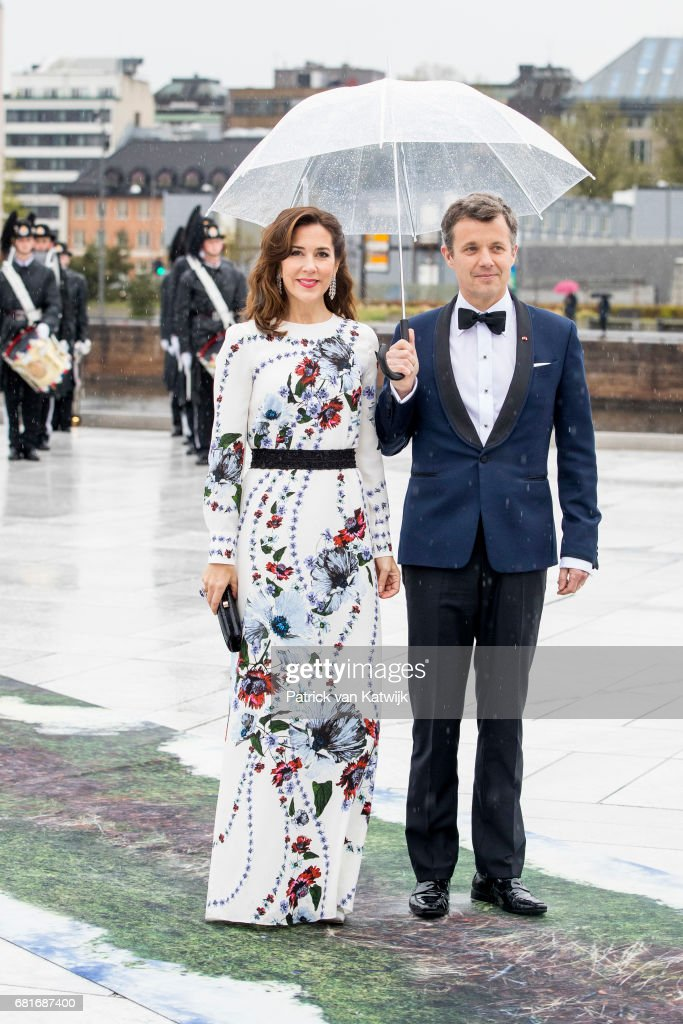 Crown Prince Frederik and Crown Princess Mary of Denmark arrive at the Opera House on the ocassion of the celebration of King Harald and Queen Sonja of Norway 80th birthdays on May 10, 2017 in Oslo, Norway.