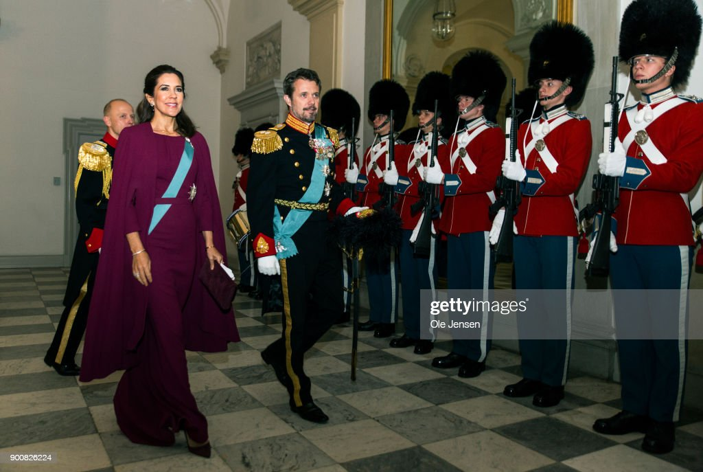 Crown Prince Frederik and Crown Princess Mary of Denmark arrive at the Traditional New Year's Banquet for foreign diplomats hosted by Queen Margrethe of Denmark at Christiansborg Palace on January 3, 2018 in Copenhagen, Denmark.