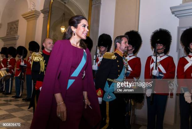 Crown Prince Frederik and Crown Princess Mary of Denmark arrive at the Traditional New Year's Banquet for foreign diplomats hosted by Queen Margrethe...