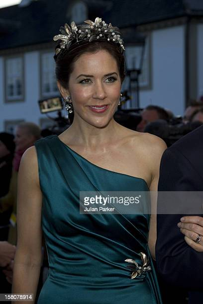Crown Prince Frederik And Crown Princess Mary Of Denmark Arrive For A Dinner At Fredensborg Palace As Part Of Queen Margrethe Of Denmarks 70Th...