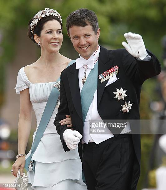 Crown Prince Frederik And Crown Princess Mary Of Denmark Arrive For The Wedding Of Prince Joachim Of Denmark And Miss Marie Cavallier At Mogeltonder...