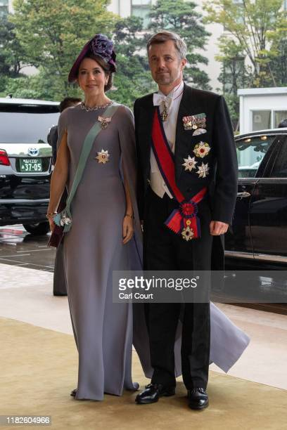 Crown Prince Frederik and Crown Princess Mary of Denmark arrive to attend the Enthronement Ceremony Of Emperor Naruhito of Japan at the Imperial...