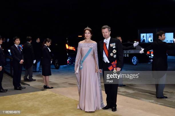 Crown Prince Frederik and Crown Princess Mary of Denmark arrive to attend the Court Banquet at the Imperial Palace on October 22, 2019 in Tokyo,...