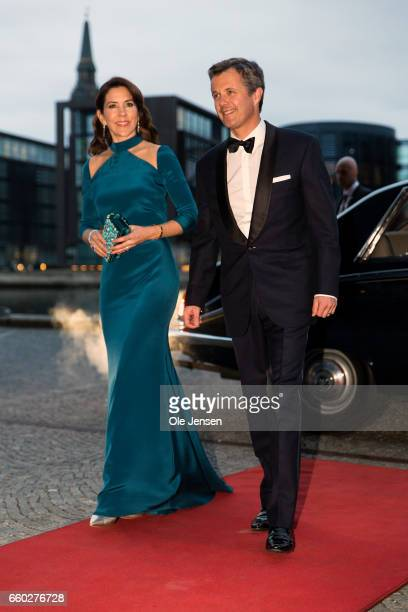 Crown Prince Frederik and Crown Princess Mary of Denmark arrive to the visiting Royal Belgian couples return arragenemt at the Black Diamond on March...