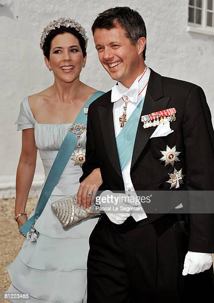 Crown Prince Frederik and Crown Princess Mary of Denmark arrive to attend the wedding between his brother Prince Joachim of Denmark and Marie...
