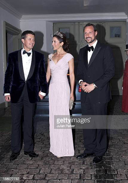 Crown Prince Frederik And Crown Princess Mary Of Denmark Arrive With Crown Prince Haakon Of Norway To A Gala Banquet At Fredensborg Palace Denmark To...