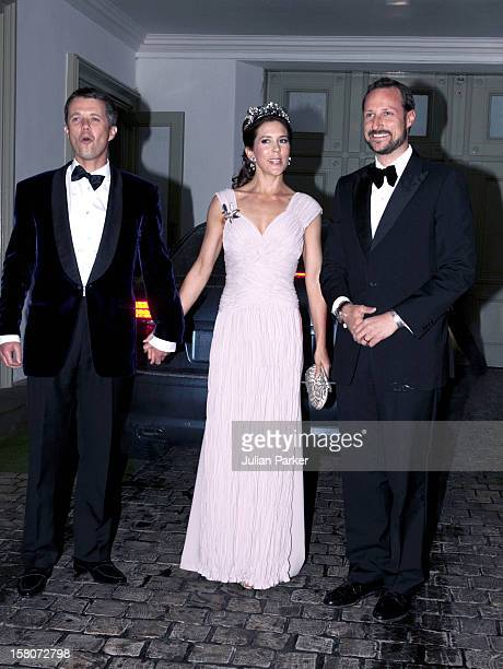 Crown Prince Frederik And Crown Princess Mary Of Denmark Arrive With Crown Prince Haakon Of Norway At A Gala Banquet At Fredensborg Palace Denmark To...
