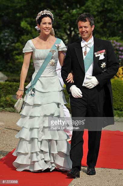 Crown Prince Frederik and Crown Princess Mary of Denmark arrives to attend the wedding between his brother Prince Joachim of Denmark and Marie...