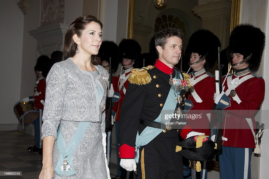 Crown Prince Frederik, and Crown Princess Mary of Denmark attend a New Year's Levee held by Queen Margrethe of Denmark, for Diplomats,at Christiansborg Palace on January 3, 2013 in Copenhagen, Denmark.
