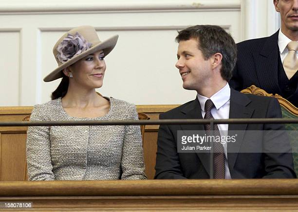 Crown Prince Frederik And Crown Princess Mary Of Denmark Attend The Opening Of The Danish Parliament At Christiansborg Palace In Copenhagen