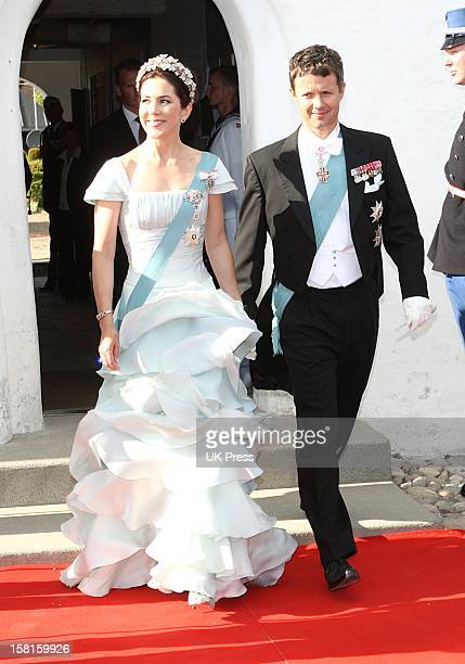 Crown Prince Frederik And Crown Princess Mary Of Denmark Attend The Wedding Of Prince Joachim Of Denmark And Miss Marie Cavallier At Mogeltonder...