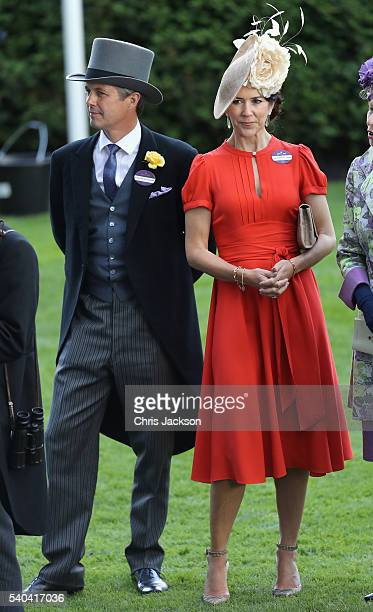 Crown Prince Frederik and Crown Princess Mary of Denmark attend the second day of Royal Ascot at Ascot Racecourse on June 15 2016 in Ascot England