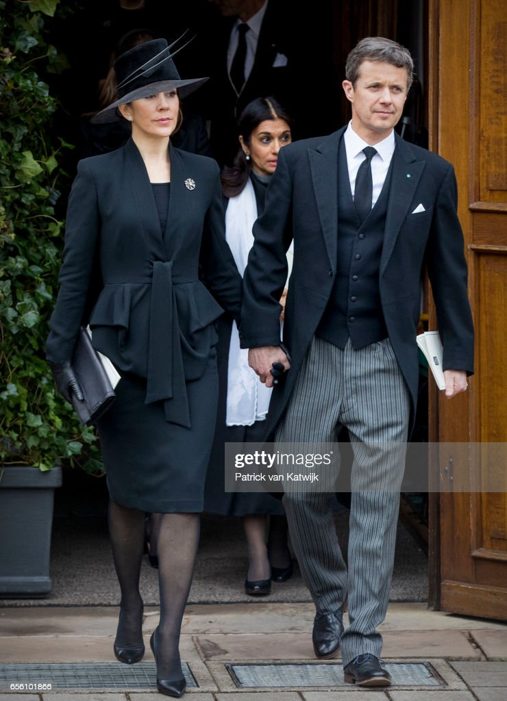 Crown prince Frederik and Crown Princess Mary of Denmark attend the funeral of Prince Richard at the Evangelische Stadtkirche on March 21, 2017 in Bad Berleburg, Germany. Prince Richard, husband of Princess Benedikte of Denmark, died suddenly on March 13, 2017 at age 83.