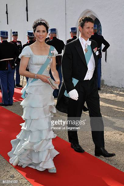 Crown Prince Frederik and Crown Princess Mary of Denmark depart after they attended the wedding between Prince Joachim of Denmark and Princess Marie...