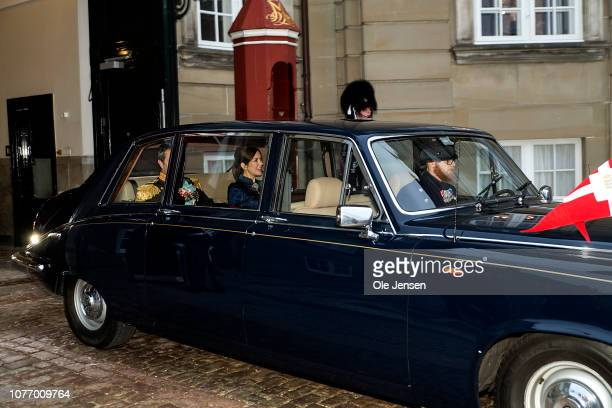 Crown Prince Frederik and Crown Princess Mary of Denmark depart from their residence at the Royal Palace Amalienborg for the short drive to...