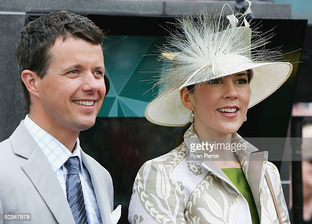 Crown Prince Frederik and Crown Princess Mary of Denmark look on during their visit to Federation Square on March 10, 2005 in Melbourne, Australia.