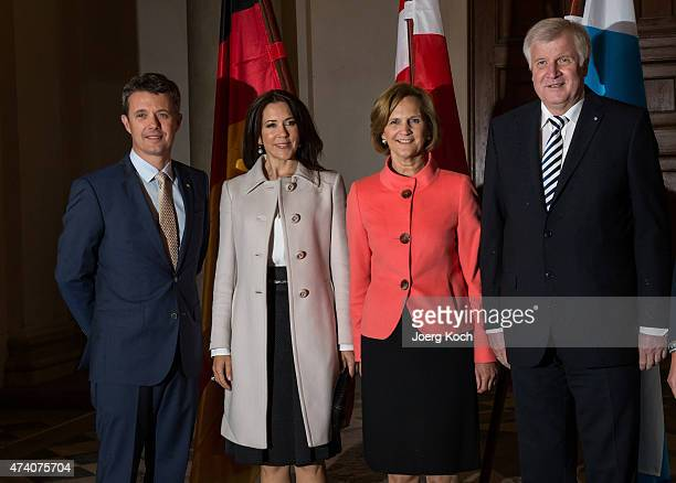 Crown Prince Frederik and Crown Princess Mary of Denmark meet Bavarian Minister Horst Seehofer and his wife Karin at the Bavarian residence during...