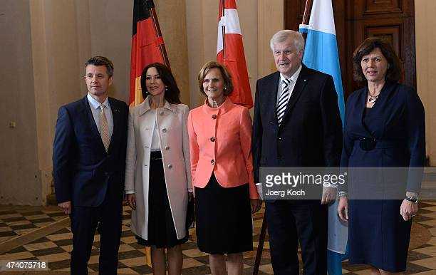 Crown Prince Frederik and Crown Princess Mary of Denmark meet Bavarian Minister Horst Seehofer, his wife Karin and bavarian economic minister Ilse...