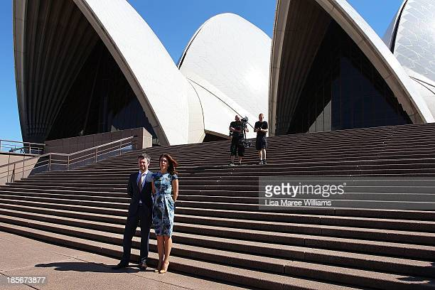 Crown Prince Frederik and Crown Princess Mary of Denmark pose at the Opera House forecourt on October 24 2013 in Sydney Australia Prince Frederik and...