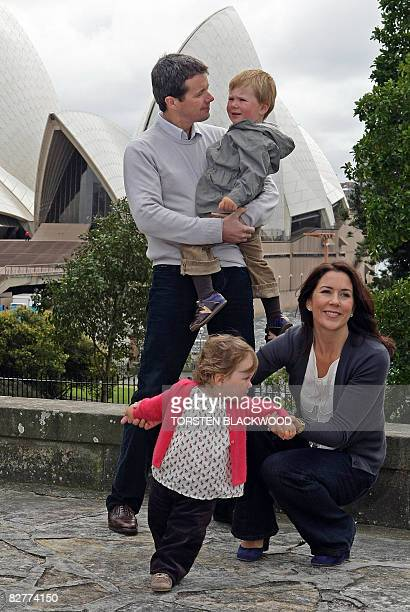 Crown Prince Frederik and Crown Princess Mary of Denmark relax with their children Prince Christian age two and Princess Isabella age one in the...
