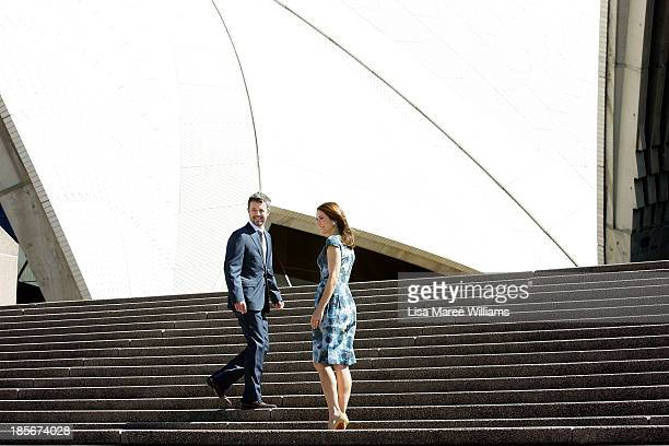 Crown Prince Frederik and Crown Princess Mary of Denmark walk up the steps of the Opera House forecourt on October 24 2013 in Sydney Australia Prince...