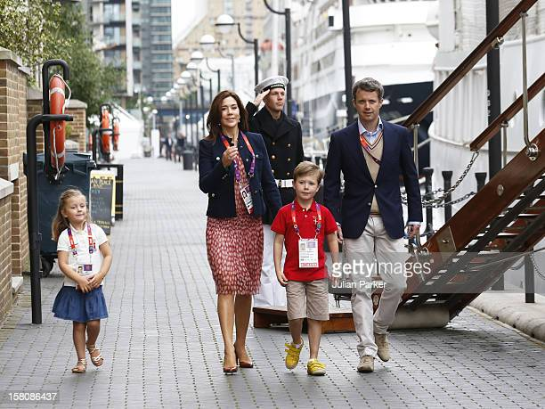 Crown Prince Frederik And Crown Princess Mary Of Denmark With Prince Christian And Princess Isabella Leave The Royal Yacht Dannebrog The Morning In...
