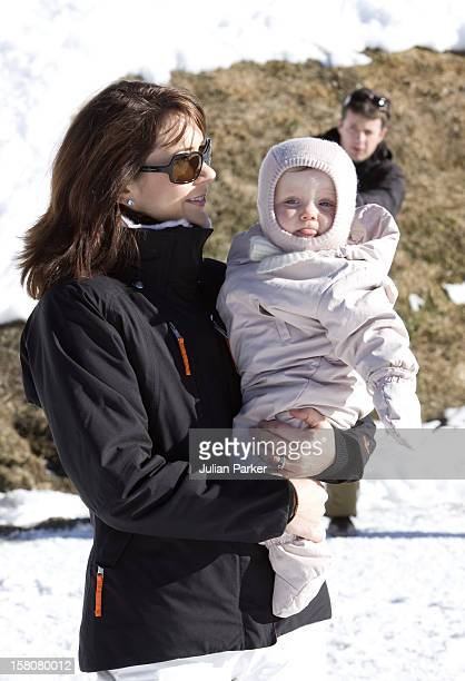 Crown Prince Frederik And Crown Princess Mary Of Denmark With Their Children Prince Christian And Princess Isabella In Verbier Switzerland During...