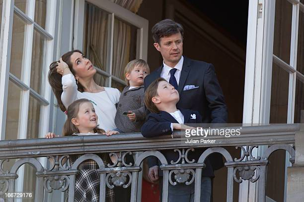 Crown Prince Frederik and Crown Princess Mary of Denmark with their children Prince Vincent Princess Isabella and Prince Christian attend Queen...