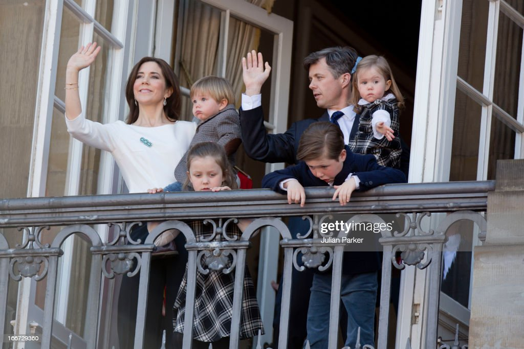 Crown Prince Frederik, and Crown Princess Mary of Denmark, with their children Prince Vincent, Princess Isabella and Prince Christian attend Queen Margrethe of Denmark's 73rd Birthday celebrations, on the Balcony of Amalienborg Palace, at Amalienborg Royal Palace on April 16, 2013 in Copenhagen, Denmark.