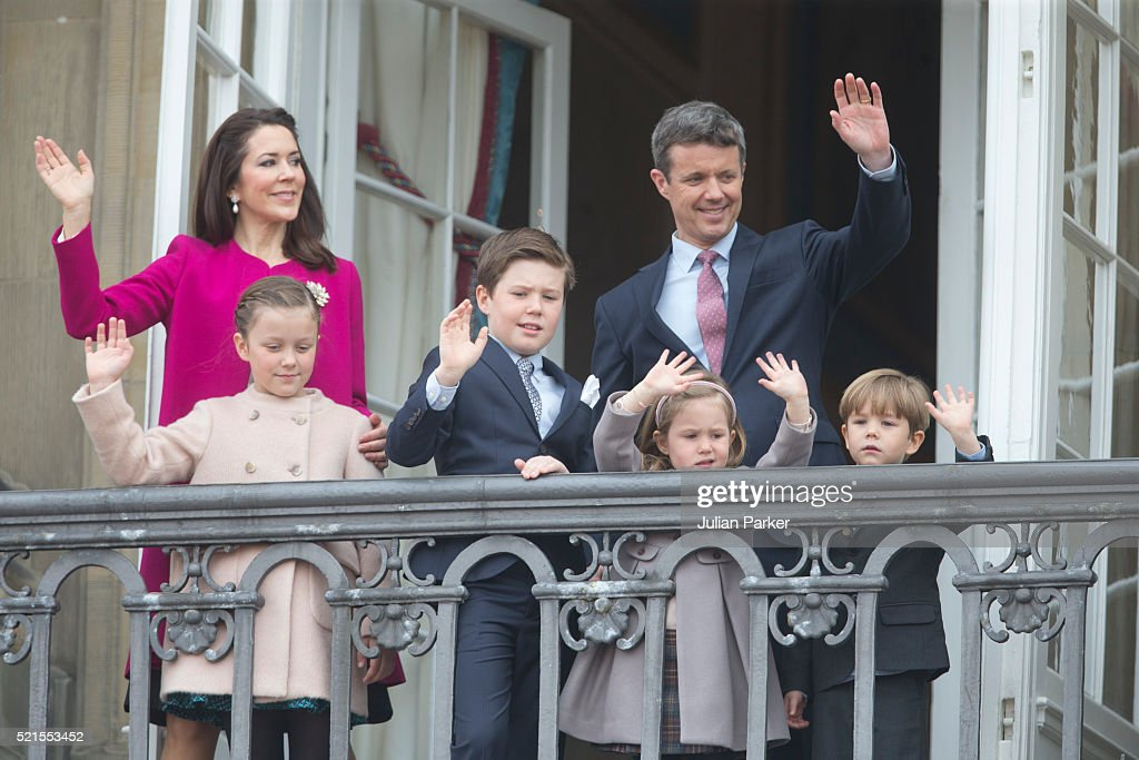 Crown Prince Frederik and Crown Princess Mary of Denmark with their children (L-R) Princess Isabella, Prince Christian, Princess Josephine and Prince Vincent attend Queen Margrethe II of Denmark's 76th Birthday Celebration at Amalienborg Palace on April 16, 2016 in Copenhagen, Denmark