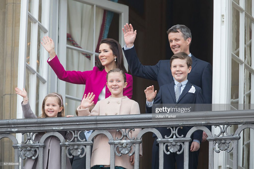 Crown Prince Frederik and Crown Princess Mary of Denmark with their children (L-R) Princess Josephine, Princess Isabella and Prince Christian attend Queen Margrethe II of Denmark's 76th Birthday Celebration at Amalienborg Palace on April 16, 2016 in Copenhagen, Denmark