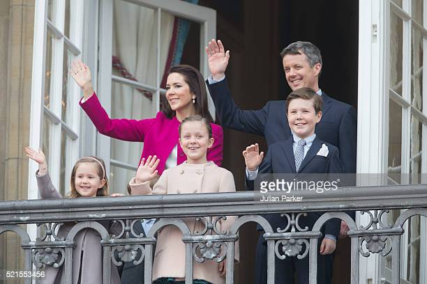 Crown Prince Frederik and Crown Princess Mary of Denmark with their children Princess Josephine, Princess Isabella and Prince Christian attend Queen...