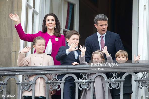Crown Prince Frederik and Crown Princess Mary of Denmark with their children Princess Isabella and Prince Christian Princess Josephine and Prince...