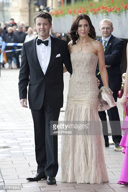 Crown Prince Frederik And Crown Princess Mary Of DenmarkLeave The Grand Hotel Stockholm To Attend A Government Dinner At The Eric Ericson Hall...