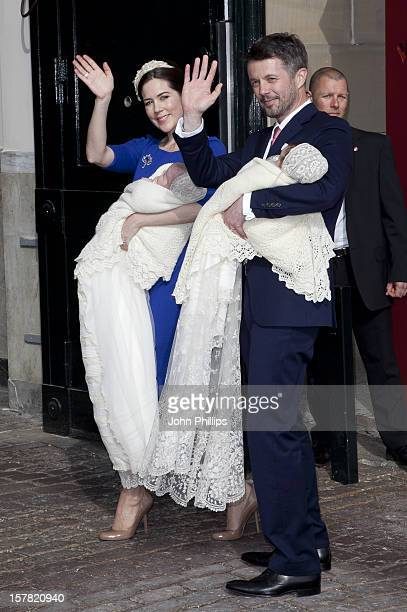 Crown Prince Frederik And Crown Princess Mary Prince Christian And Princess Isabella Arrive Back At Amalienborg Palace In Copenhagen After The...