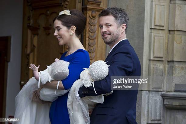 Crown Prince Frederik And Crown Princess Mary Prince Christian And Princess Isabella Arrive For The Christening Of The Danish Royal Twins At Holmens...